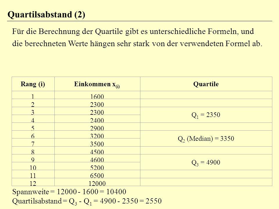 Quartilsabstand (2) Für die Berechnung der Quartile gibt es unterschiedliche Formeln, und die berechneten Werte hängen sehr stark von der verwendeten Formel ab.