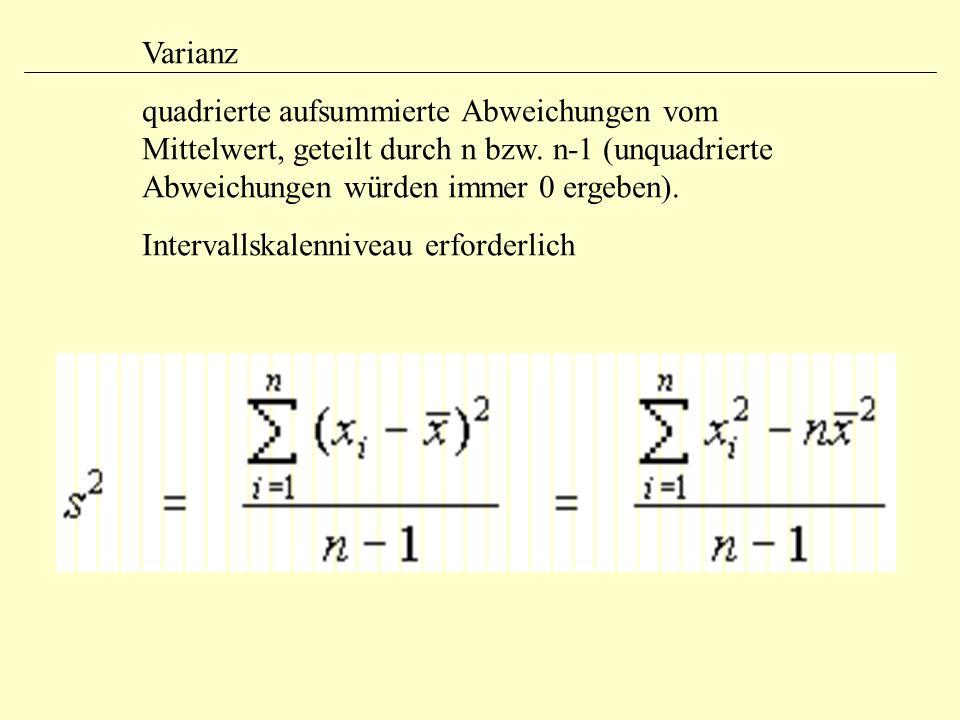 Varianz quadrierte aufsummierte Abweichungen vom Mittelwert, geteilt durch n bzw.
