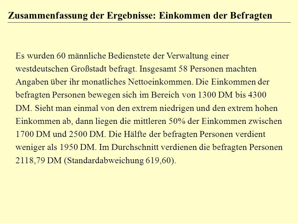 Zusammenfassung der Ergebnisse: Einkommen der Befragten Es wurden 60 männliche Bedienstete der Verwaltung einer westdeutschen Großstadt befragt.