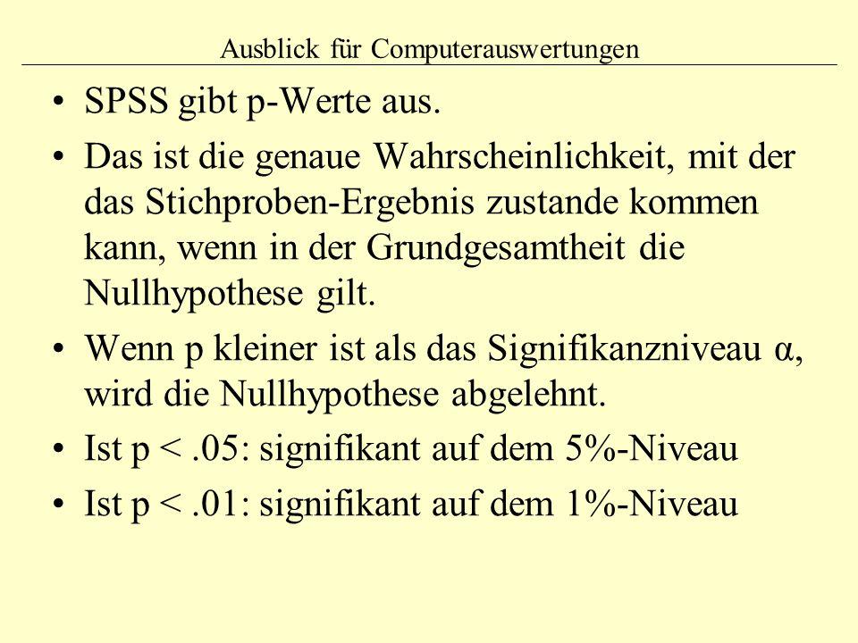 Ausblick für Computerauswertungen SPSS gibt p-Werte aus. Das ist die genaue Wahrscheinlichkeit, mit der das Stichproben-Ergebnis zustande kommen kann,