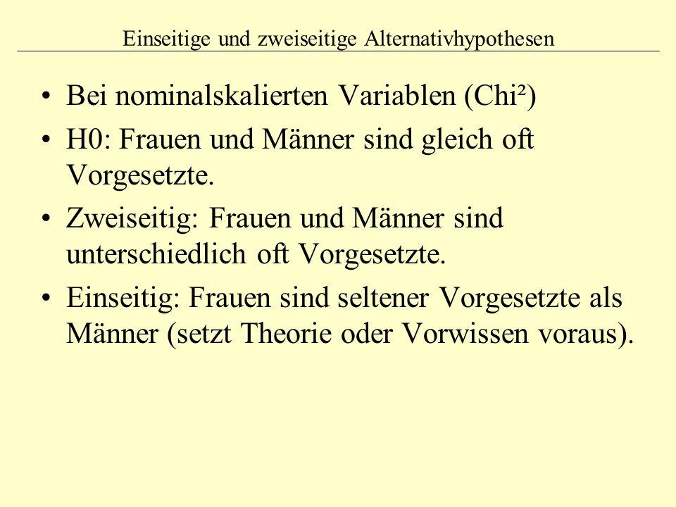 Einseitige und zweiseitige Alternativhypothesen Bei nominalskalierten Variablen (Chi²) H0: Frauen und Männer sind gleich oft Vorgesetzte. Zweiseitig: