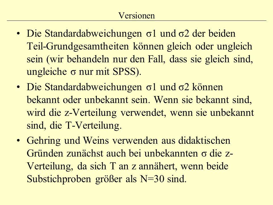 Versionen Die Standardabweichungen σ1 und σ2 der beiden Teil-Grundgesamtheiten können gleich oder ungleich sein (wir behandeln nur den Fall, dass sie