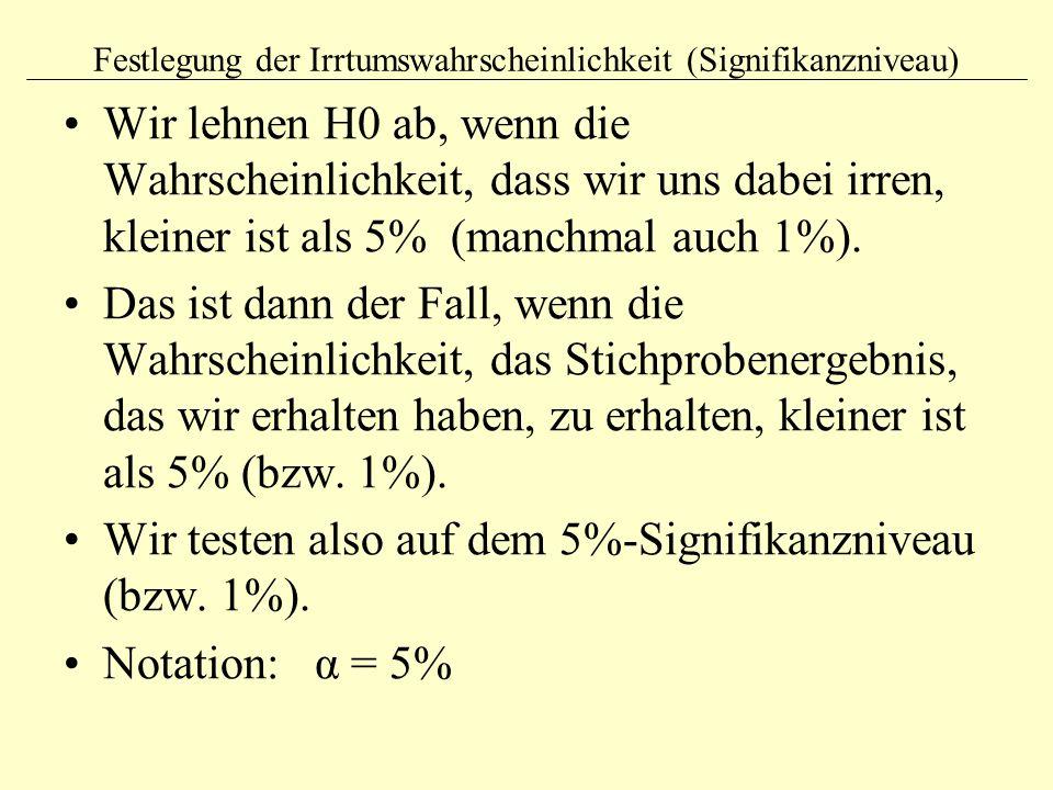 Festlegung der Irrtumswahrscheinlichkeit (Signifikanzniveau) Wir lehnen H0 ab, wenn die Wahrscheinlichkeit, dass wir uns dabei irren, kleiner ist als