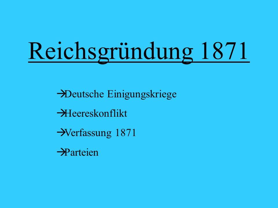 Reichsgründung 1871 Deutsche Einigungskriege Heereskonflikt Verfassung 1871 Parteien