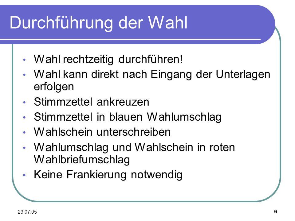 23.07.057 Rechtliche Grundlagen A.Allgemeinheit der Wahl B.