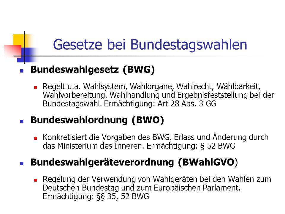 Gesetze bei Bundestagswahlen Bundeswahlgesetz (BWG) Regelt u.a. Wahlsystem, Wahlorgane, Wahlrecht, Wählbarkeit, Wahlvorbereitung, Wahlhandlung und Erg