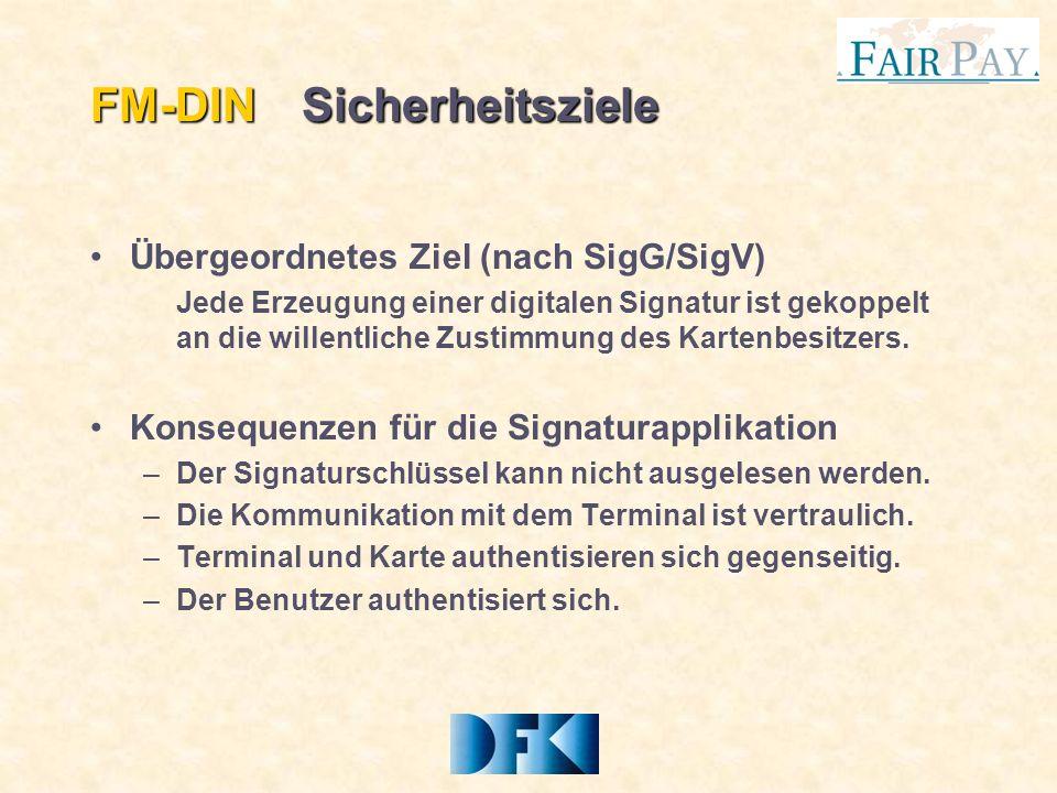 FM-DINSicherheitsziele Übergeordnetes Ziel (nach SigG/SigV) Jede Erzeugung einer digitalen Signatur ist gekoppelt an die willentliche Zustimmung des Kartenbesitzers.
