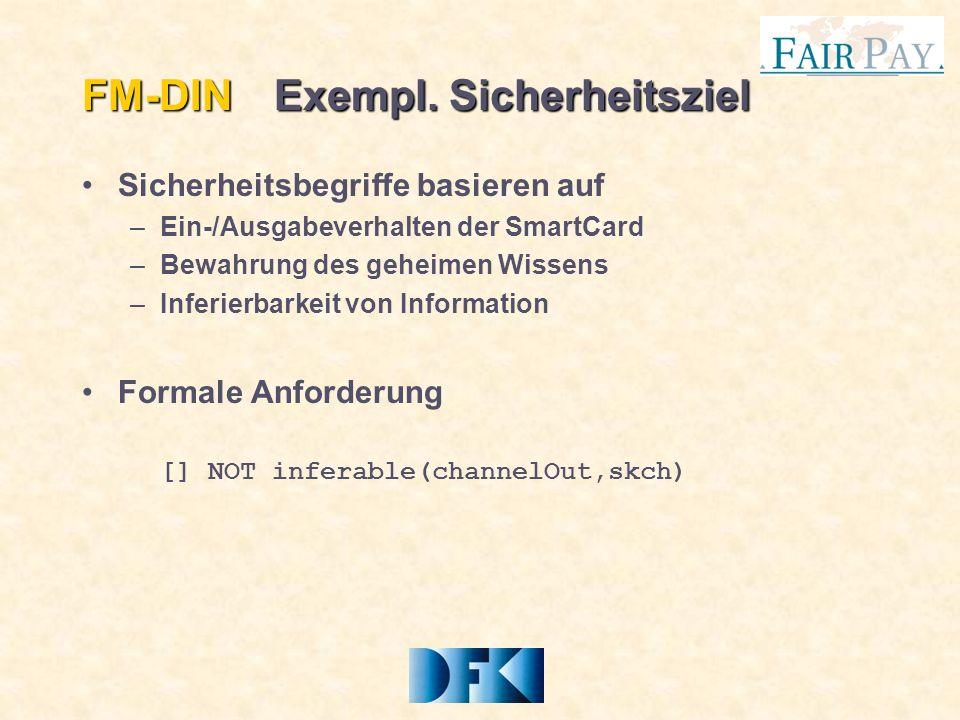 Sicherheitsbegriffe basieren auf –Ein-/Ausgabeverhalten der SmartCard –Bewahrung des geheimen Wissens –Inferierbarkeit von Information Formale Anforderung [] NOT inferable(channelOut,skch) FM-DINExempl.