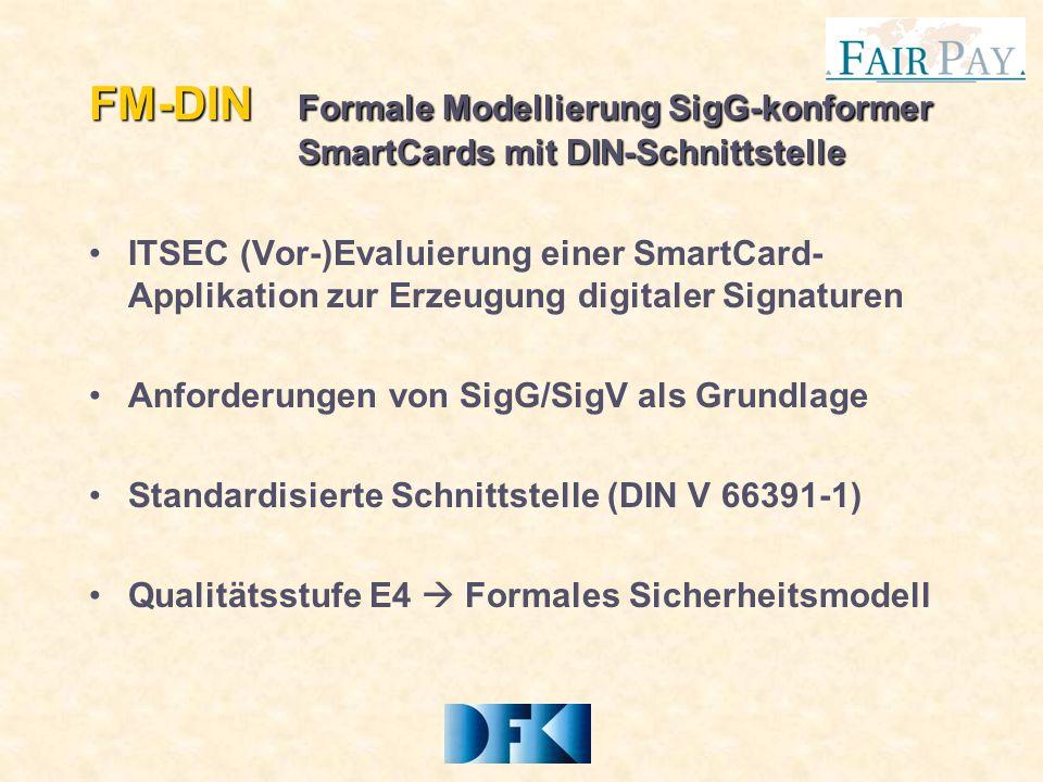 FM-DIN Formale Modellierung SigG-konformer SmartCards mit DIN-Schnittstelle ITSEC (Vor-)Evaluierung einer SmartCard- Applikation zur Erzeugung digitaler Signaturen Anforderungen von SigG/SigV als Grundlage Standardisierte Schnittstelle (DIN V 66391-1) Qualitätsstufe E4 Formales Sicherheitsmodell
