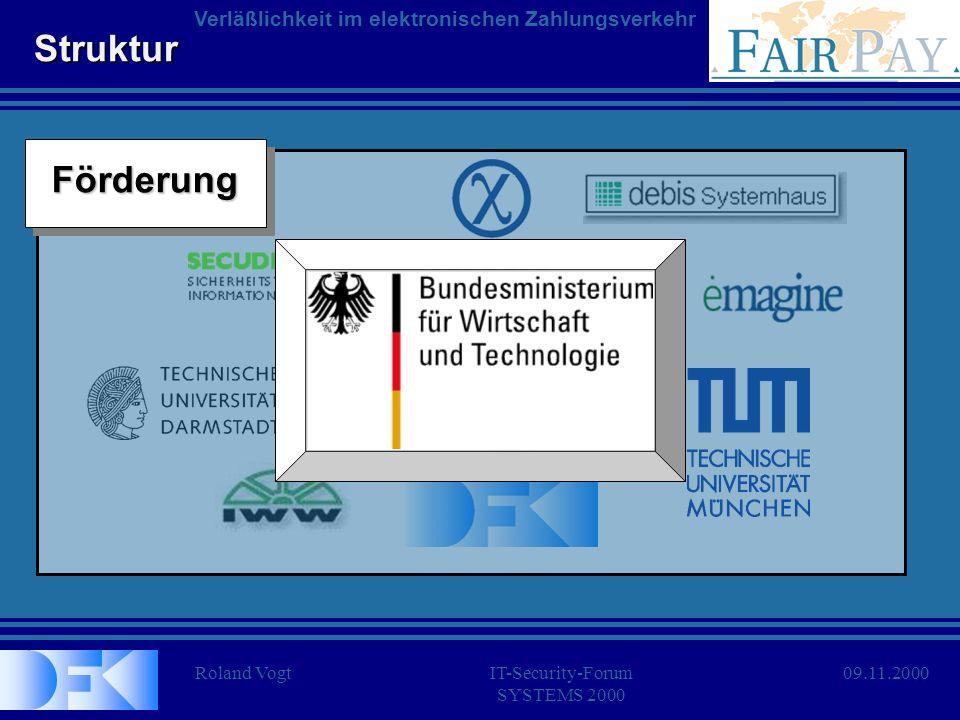 Roland VogtIT-Security-Forum SYSTEMS 2000 Verläßlichkeit im elektronischen Zahlungsverkehr 09.11.2000 Struktur KonsortiumKonsortiumFörderungFörderung