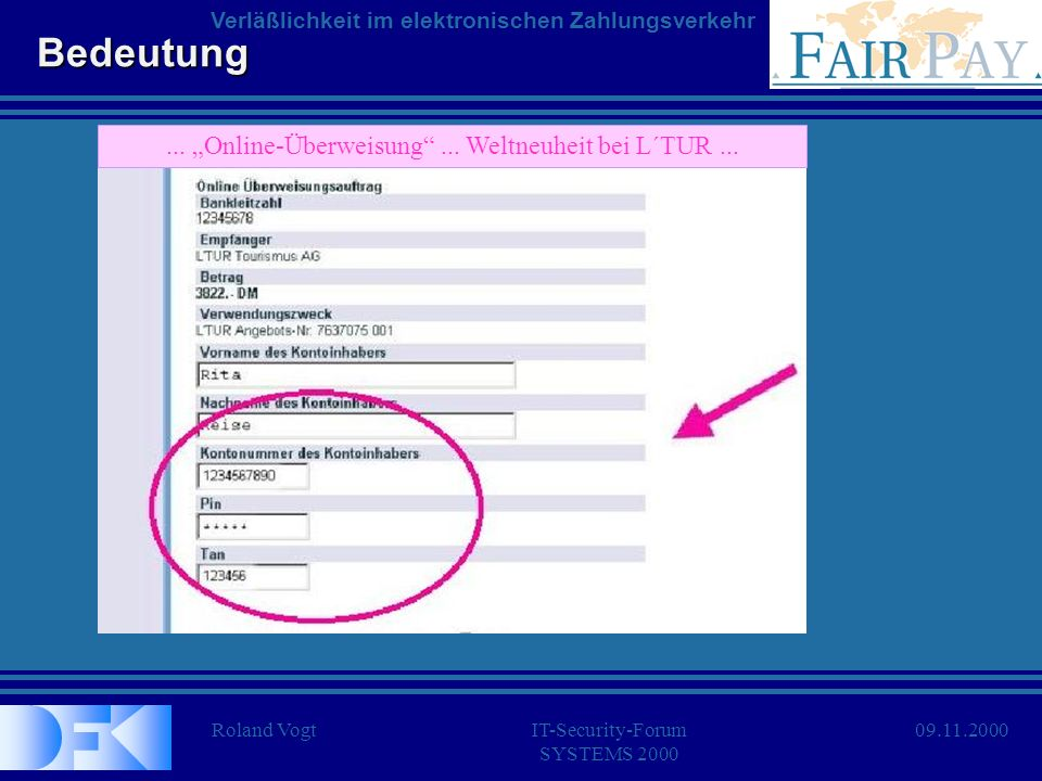Roland VogtIT-Security-Forum SYSTEMS 2000 Verläßlichkeit im elektronischen Zahlungsverkehr 09.11.2000...