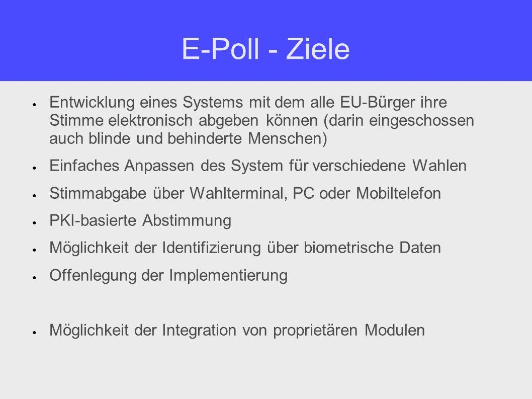E-Poll - Testwahlen Erprobung des Prototyps aus der 1.