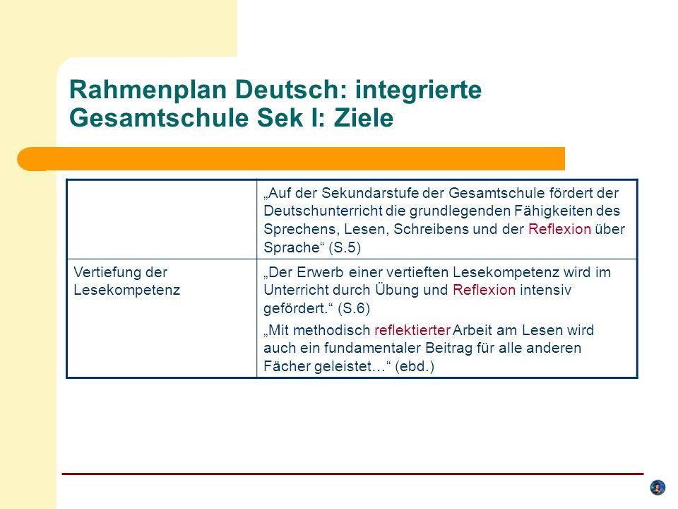 Rahmenplan Deutsch: integrierte Gesamtschule Sek I: Inhalte Arbeitsbereich Sprachverwendung und integrative Grammatik Die Sprachreflexion unterstützt zugleich den Erwerb von Deutsch als Zweitsprache und das Erlernen von Fremdsprachen; dabei findet ein wechselseitiges Lernern statt.