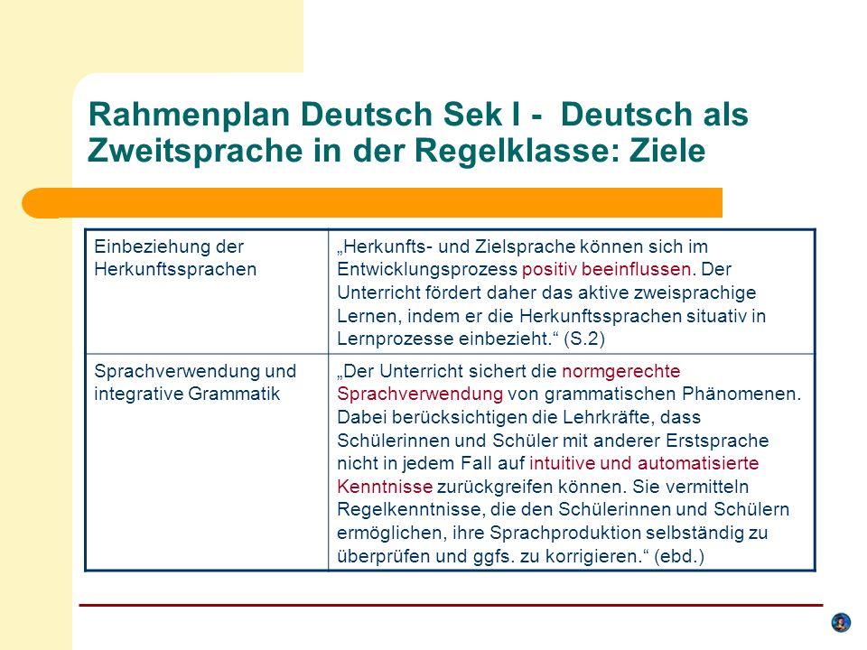 Verbindliche Inhalte- Rahmenplan Deutsch: integrierte Gesamtschule Sek I