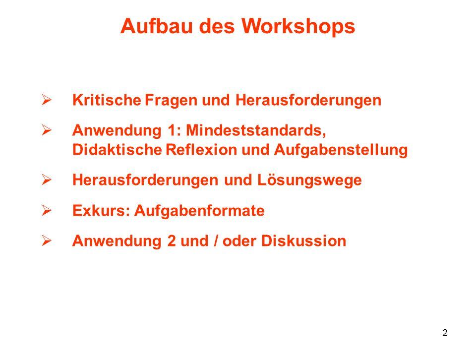 2 Aufbau des Workshops Kritische Fragen und Herausforderungen Anwendung 1: Mindeststandards, Didaktische Reflexion und Aufgabenstellung Herausforderun