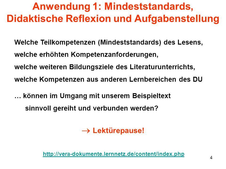 4 Anwendung 1: Mindeststandards, Didaktische Reflexion und Aufgabenstellung Welche Teilkompetenzen (Mindeststandards) des Lesens, welche erhöhten Komp
