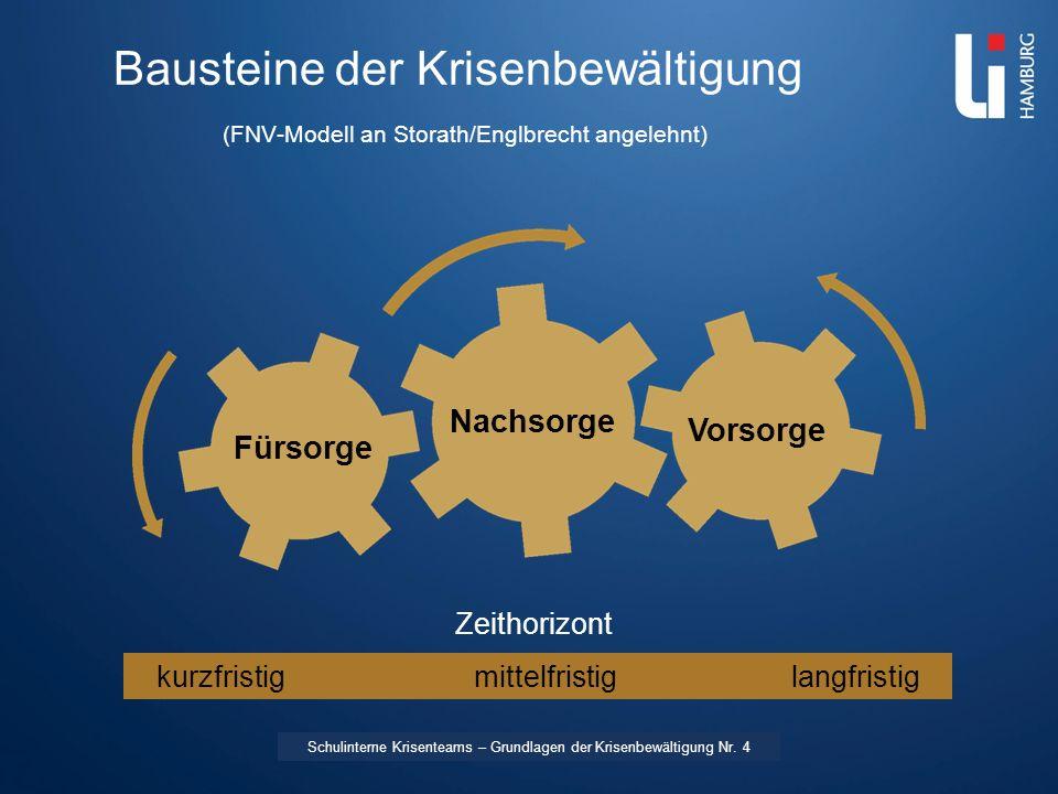 LI: Vorname Name Bausteine der Krisenbewältigung (FNV-Modell an Storath/Englbrecht angelehnt) Zeithorizont kurzfristigmittelfristiglangfristig Vorsorg