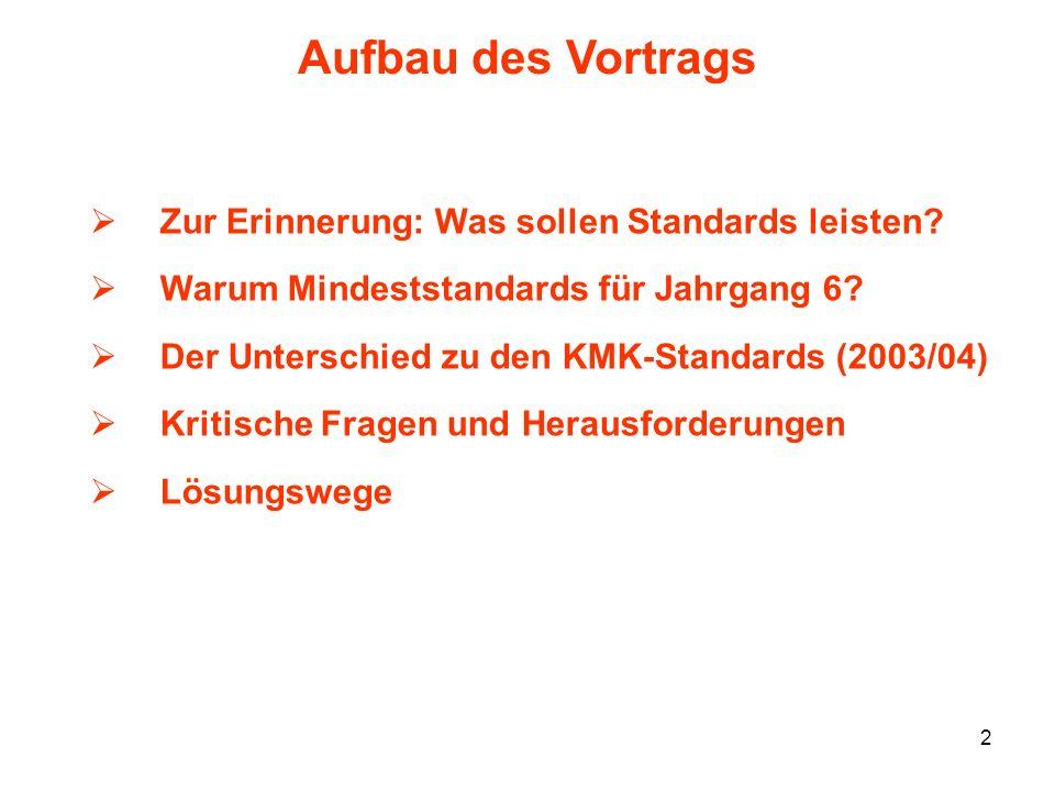 2 Aufbau des Vortrags Zur Erinnerung: Was sollen Standards leisten? Warum Mindeststandards für Jahrgang 6? Der Unterschied zu den KMK-Standards (2003/