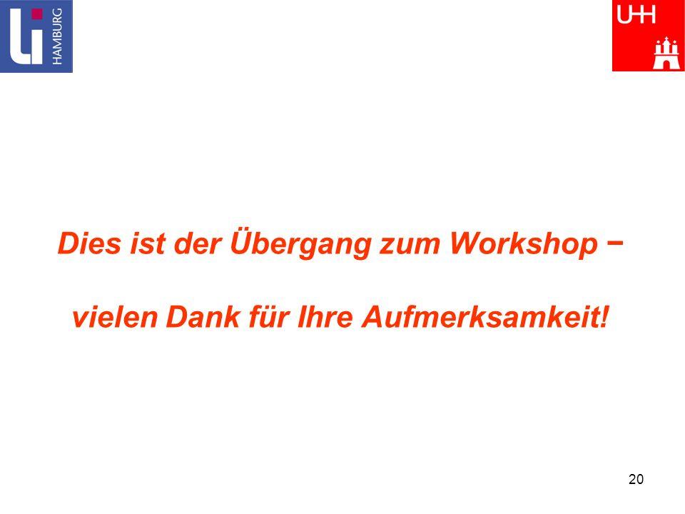 20 Dies ist der Übergang zum Workshop vielen Dank für Ihre Aufmerksamkeit!
