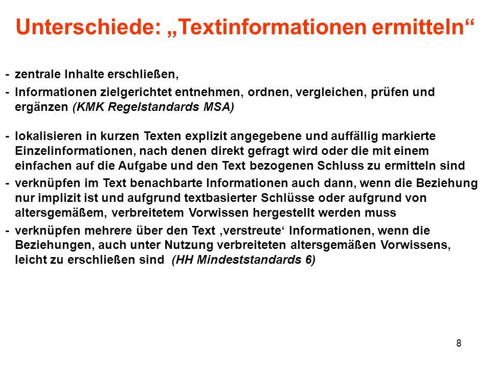 8 Unterschiede: Textinformationen ermitteln -zentrale Inhalte erschließen, -Informationen zielgerichtet entnehmen, ordnen, vergleichen, prüfen und erg