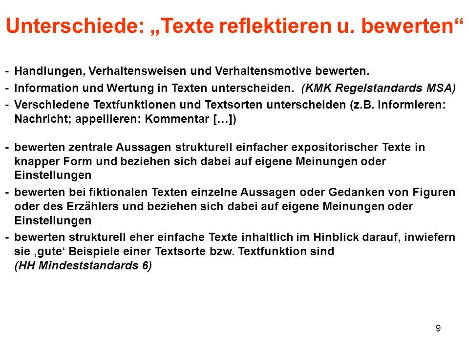 9 Unterschiede: Texte reflektieren u. bewerten -Handlungen, Verhaltensweisen und Verhaltensmotive bewerten. -Information und Wertung in Texten untersc