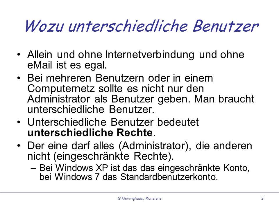 G.Meininghaus, Konstanz2 Wozu unterschiedliche Benutzer Allein und ohne Internetverbindung und ohne eMail ist es egal.