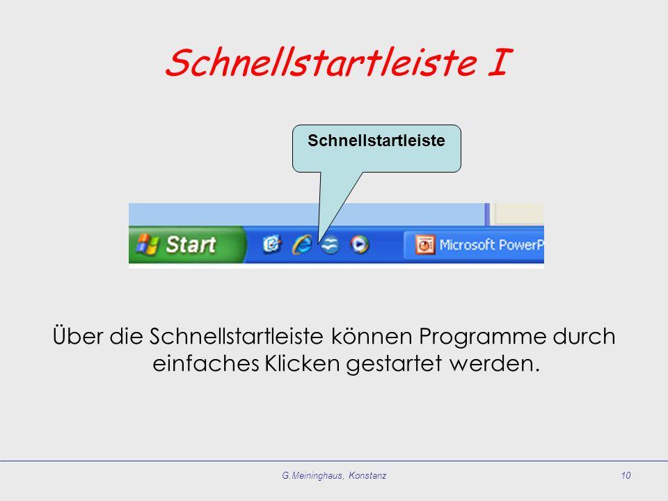 G.Meininghaus, Konstanz10 Schnellstartleiste I Über die Schnellstartleiste können Programme durch einfaches Klicken gestartet werden. Schnellstartleis