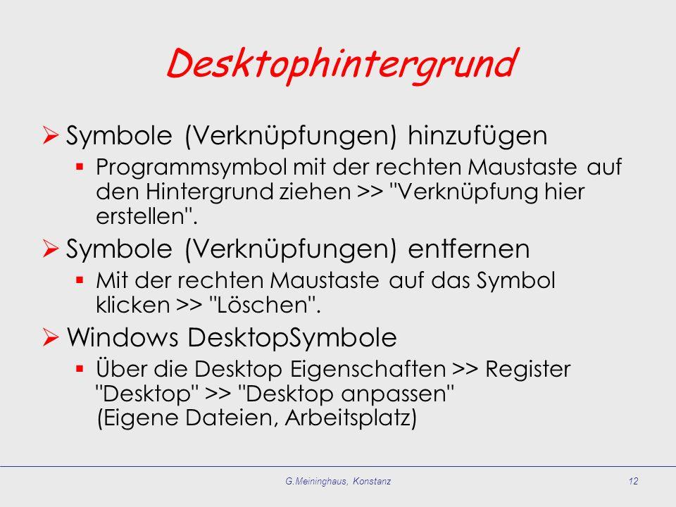G.Meininghaus, Konstanz12 Desktophintergrund Symbole (Verknüpfungen) hinzufügen Programmsymbol mit der rechten Maustaste auf den Hintergrund ziehen >>