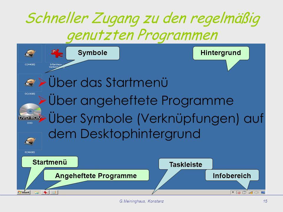 G.Meininghaus, Konstanz15 HintergrundSymbole Taskleiste Angeheftete Programme Startmenü Infobereich Über das Startmenü Über angeheftete Programme Über