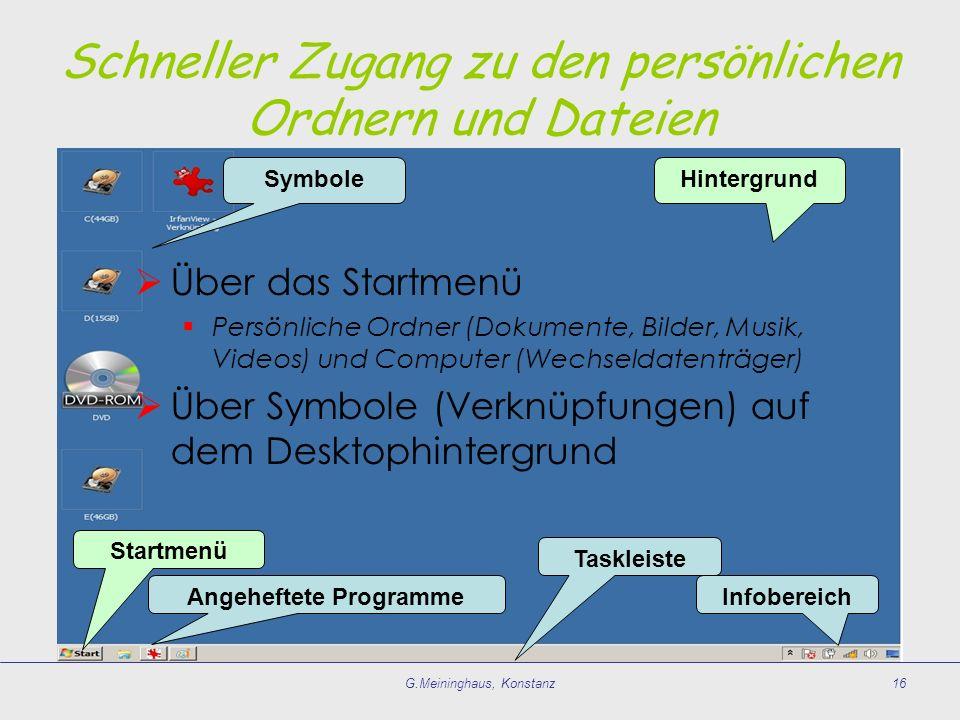 G.Meininghaus, Konstanz16 HintergrundSymbole Taskleiste Angeheftete Programme Startmenü Infobereich Schneller Zugang zu den persönlichen Ordnern und D