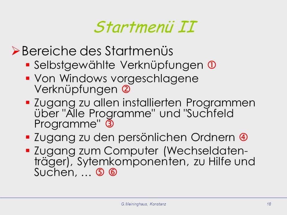 G.Meininghaus, Konstanz18 Startmenü II Bereiche des Startmenüs Selbstgewählte Verknüpfungen Von Windows vorgeschlagene Verknüpfungen Zugang zu allen i