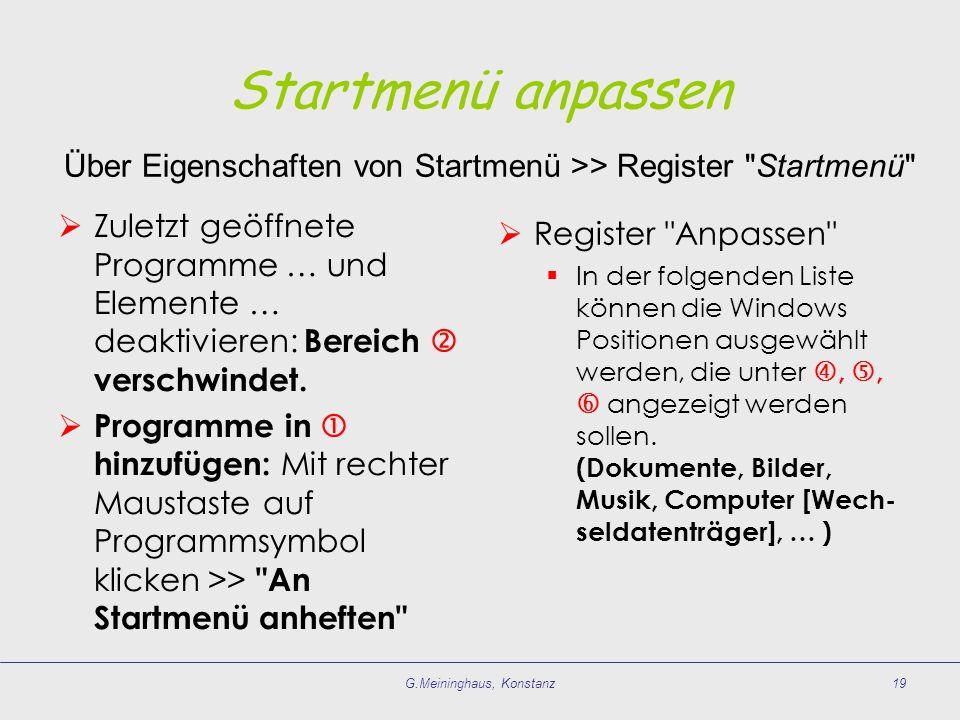G.Meininghaus, Konstanz19 Startmenü anpassen Zuletzt geöffnete Programme … und Elemente … deaktivieren: Bereich verschwindet. Programme in hinzufügen: