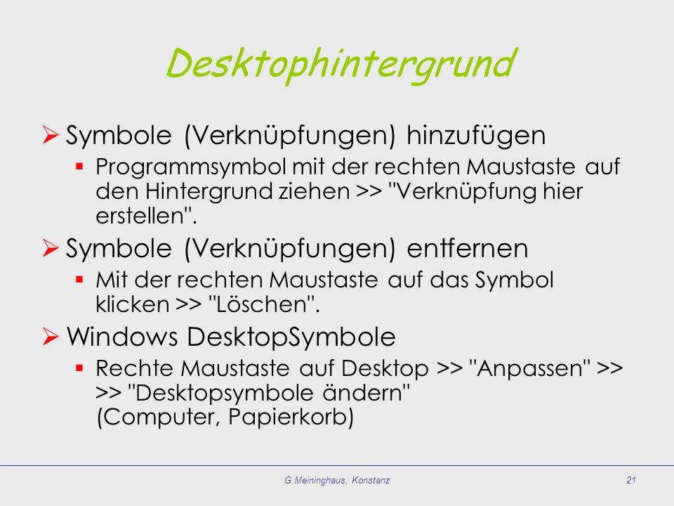 G.Meininghaus, Konstanz21 Desktophintergrund Symbole (Verknüpfungen) hinzufügen Programmsymbol mit der rechten Maustaste auf den Hintergrund ziehen >>