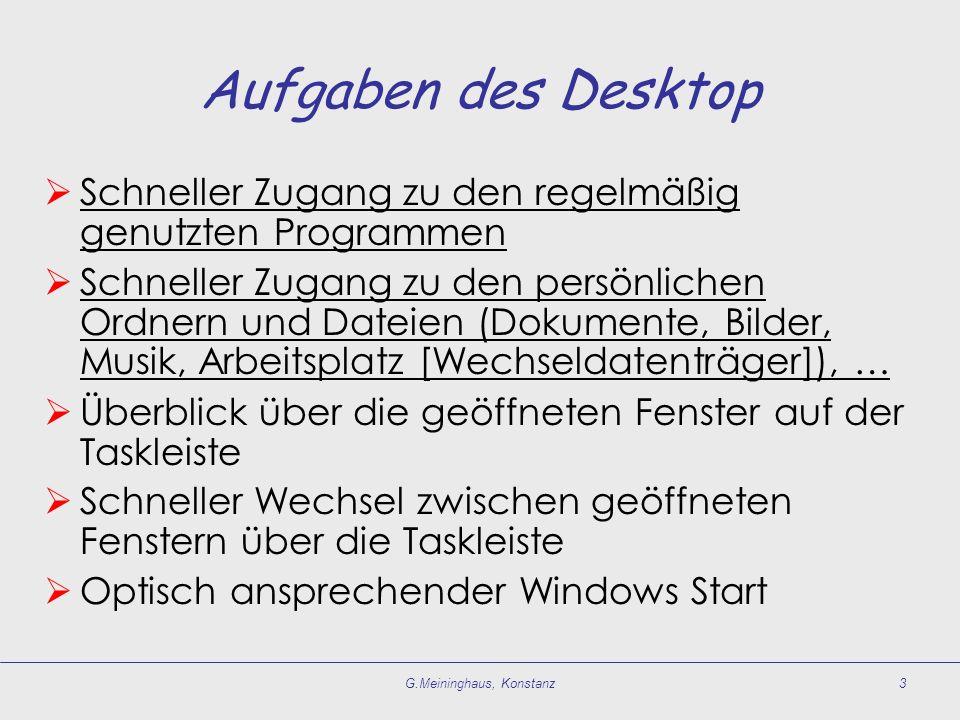 G.Meininghaus, Konstanz3 Aufgaben des Desktop Schneller Zugang zu den regelmäßig genutzten Programmen Schneller Zugang zu den persönlichen Ordnern und