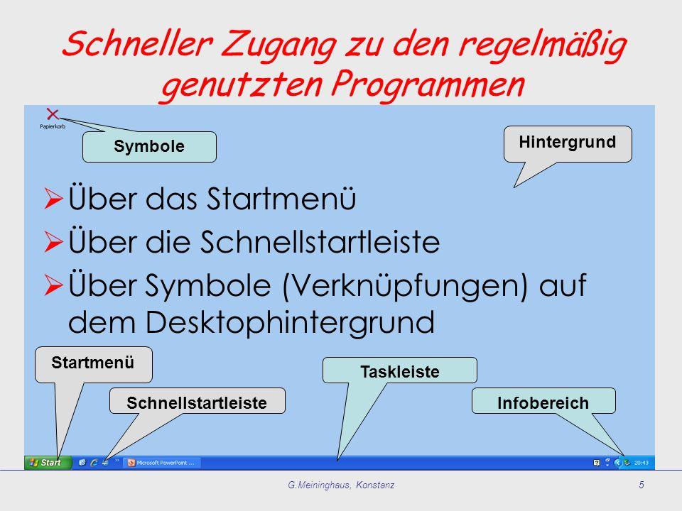 G.Meininghaus, Konstanz5 Startmenü Schnellstartleiste Taskleiste Infobereich Symbole Hintergrund Über das Startmenü Über die Schnellstartleiste Über S