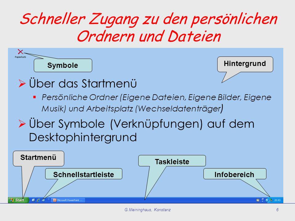 G.Meininghaus, Konstanz6 Startmenü Schnellstartleiste Taskleiste Infobereich Symbole Hintergrund Schneller Zugang zu den persönlichen Ordnern und Date