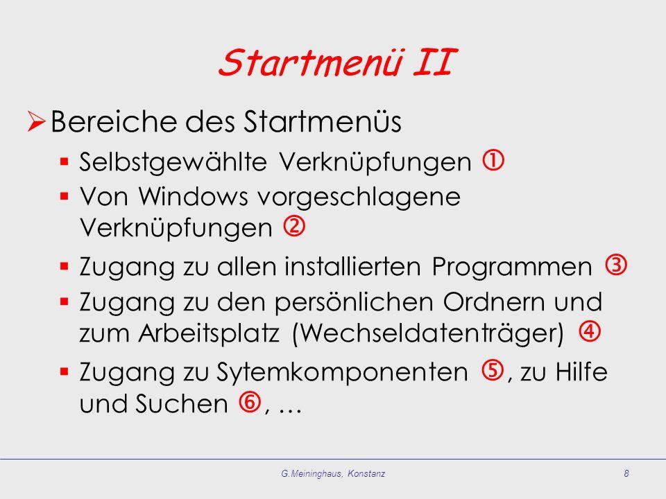 G.Meininghaus, Konstanz8 Startmenü II Bereiche des Startmenüs Selbstgewählte Verknüpfungen Von Windows vorgeschlagene Verknüpfungen Zugang zu allen in