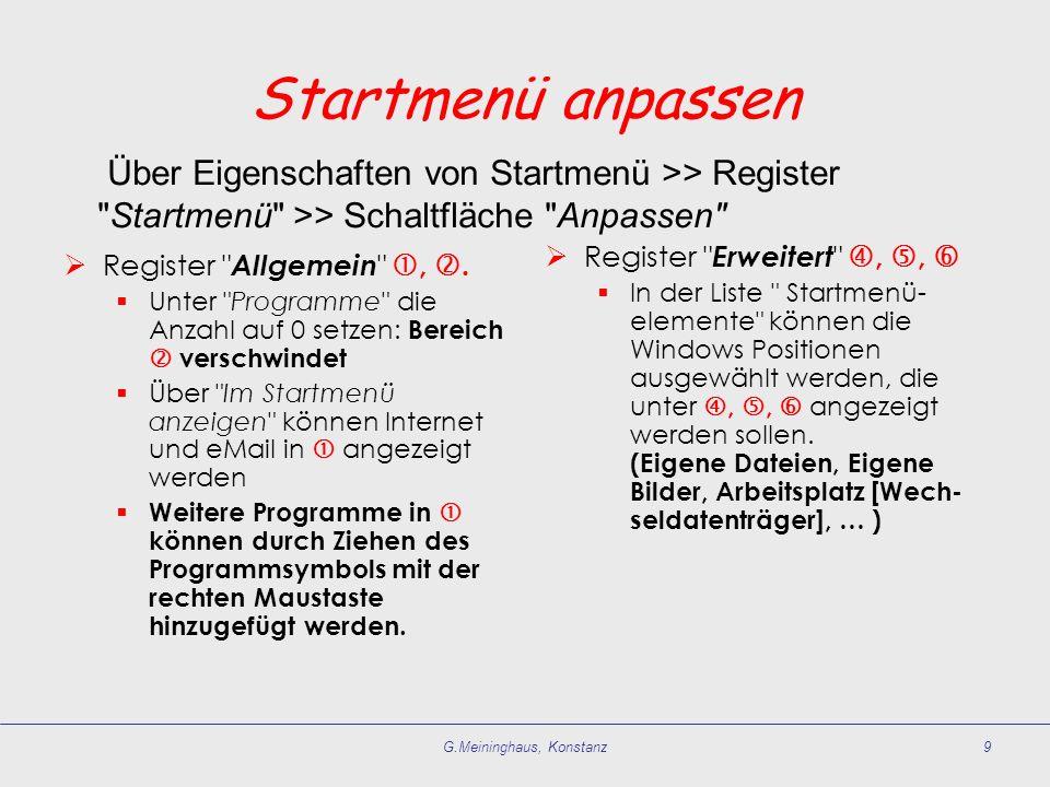 G.Meininghaus, Konstanz9 Startmenü anpassen Register