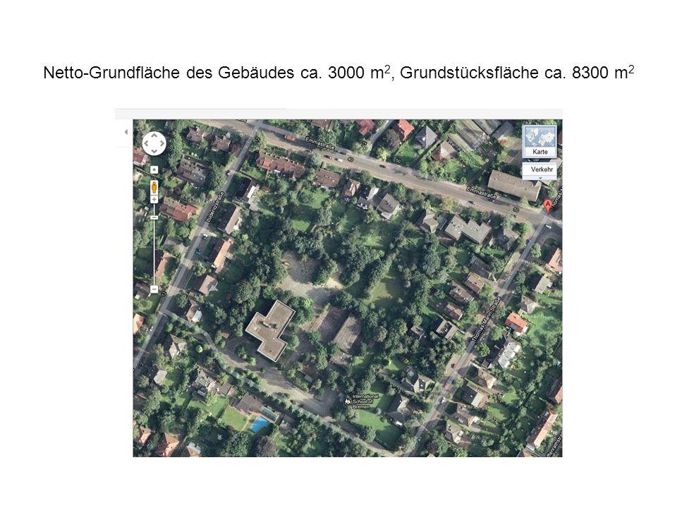 Netto-Grundfläche des Gebäudes ca. 3000 m 2, Grundstücksfläche ca. 8300 m 2