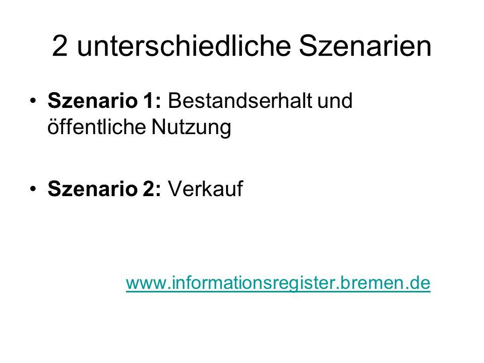 2 unterschiedliche Szenarien Szenario 1: Bestandserhalt und öffentliche Nutzung Szenario 2: Verkauf www.informationsregister.bremen.de