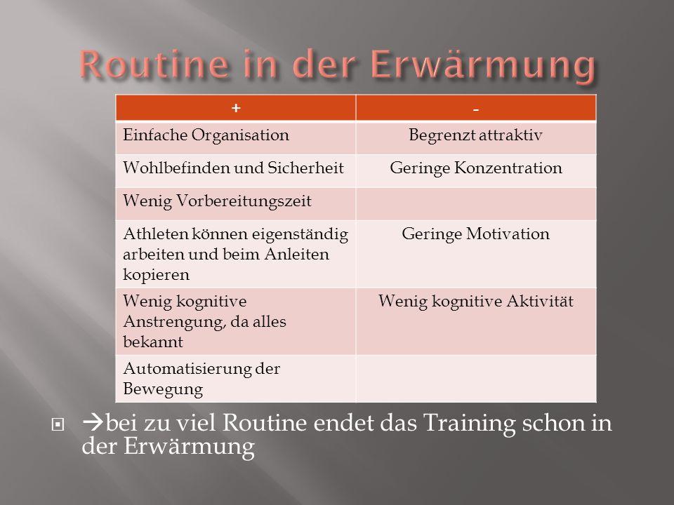 bei zu viel Routine endet das Training schon in der Erwärmung +- Einfache OrganisationBegrenzt attraktiv Wohlbefinden und SicherheitGeringe Konzentrat