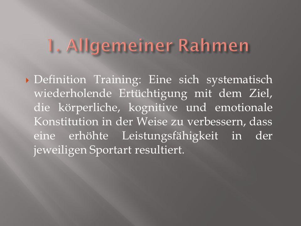 Definition Training: Eine sich systematisch wiederholende Ertüchtigung mit dem Ziel, die körperliche, kognitive und emotionale Konstitution in der Weise zu verbessern, dass eine erhöhte Leistungsfähigkeit in der jeweiligen Sportart resultiert.