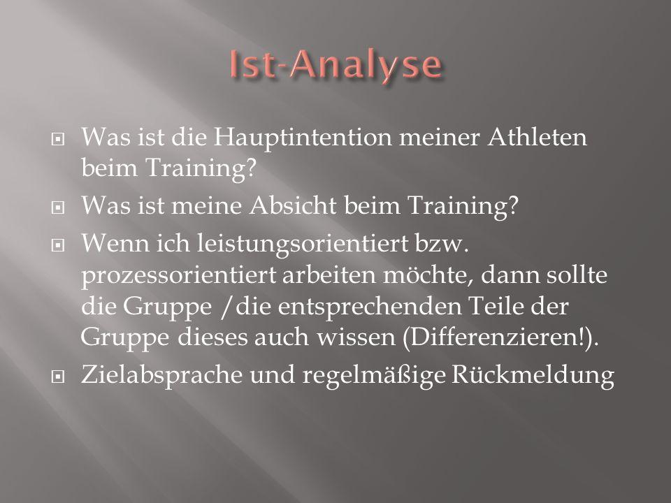 Was ist die Hauptintention meiner Athleten beim Training? Was ist meine Absicht beim Training? Wenn ich leistungsorientiert bzw. prozessorientiert arb