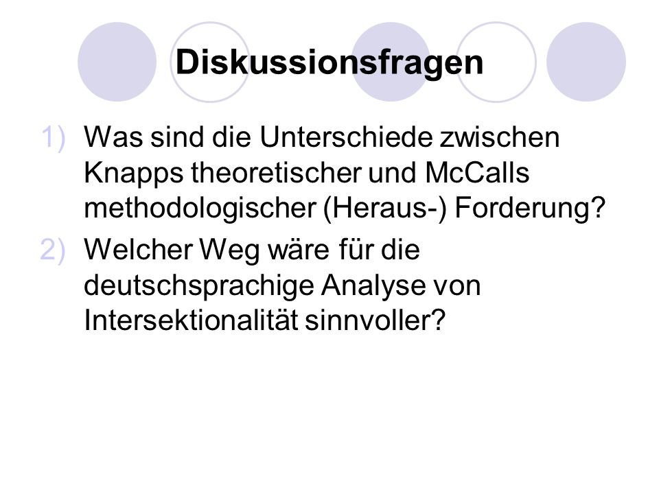Diskussionsfragen 1)Was sind die Unterschiede zwischen Knapps theoretischer und McCalls methodologischer (Heraus-) Forderung? 2)Welcher Weg wäre für d