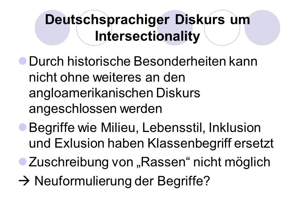 Deutschsprachiger Diskurs um Intersectionality Durch historische Besonderheiten kann nicht ohne weiteres an den angloamerikanischen Diskurs angeschlos