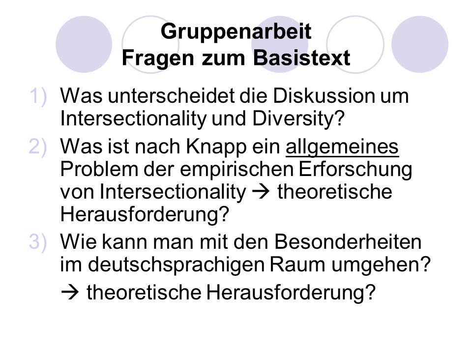 Gruppenarbeit Fragen zum Basistext 1)Was unterscheidet die Diskussion um Intersectionality und Diversity? 2)Was ist nach Knapp ein allgemeines Problem