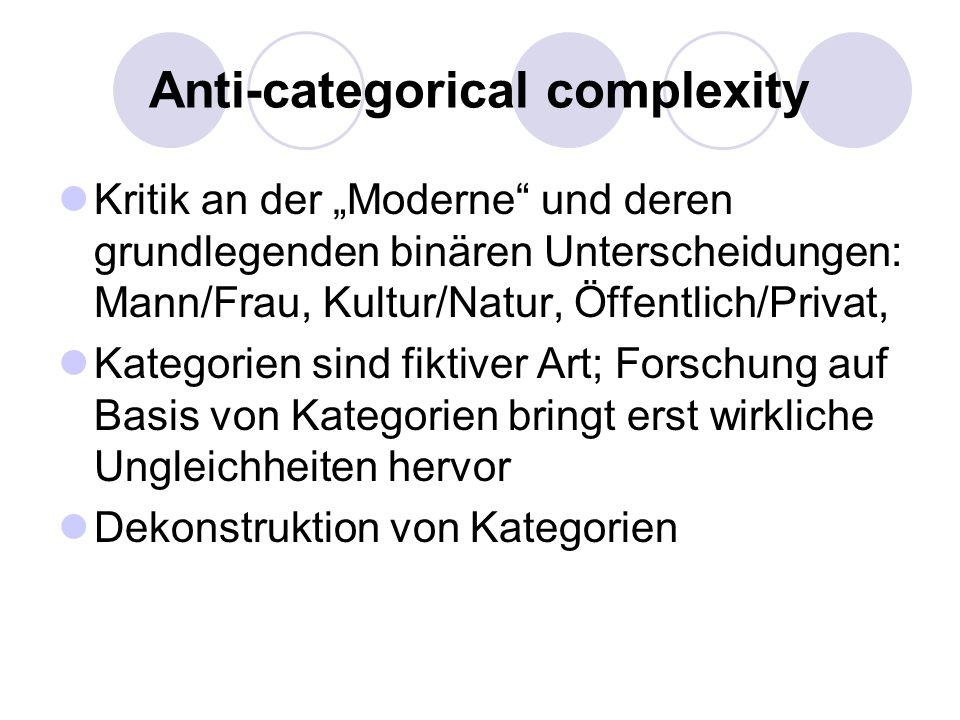 Anti-categorical complexity Kritik an der Moderne und deren grundlegenden binären Unterscheidungen: Mann/Frau, Kultur/Natur, Öffentlich/Privat, Katego