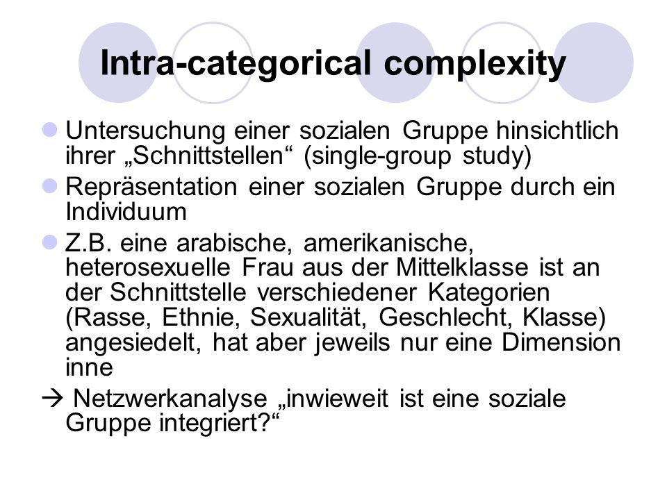 Intra-categorical complexity Untersuchung einer sozialen Gruppe hinsichtlich ihrer Schnittstellen (single-group study) Repräsentation einer sozialen G