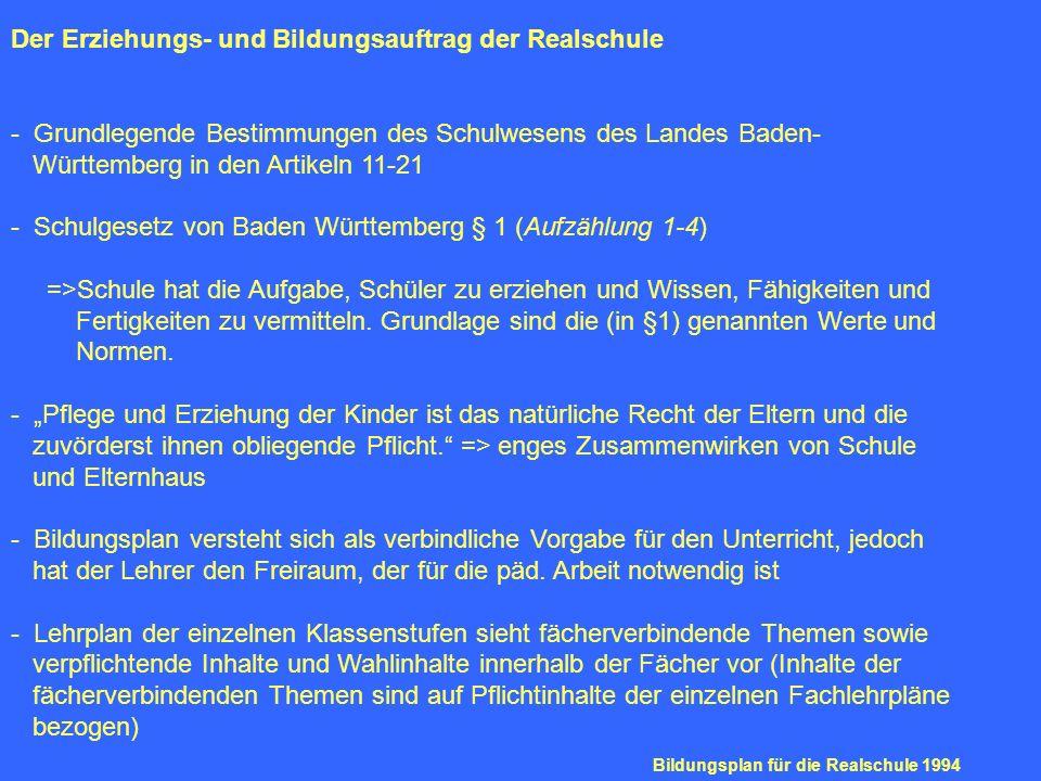 Der Erziehungs- und Bildungsauftrag der Realschule - Grundlegende Bestimmungen des Schulwesens des Landes Baden- Württemberg in den Artikeln 11-21 - S