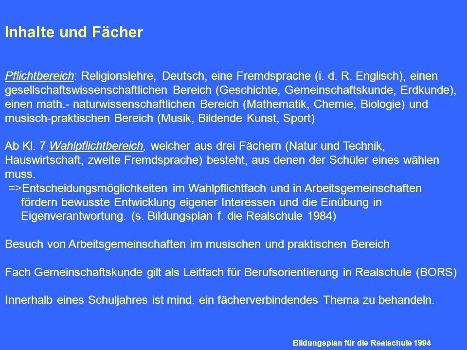 Inhalte und Fächer Pflichtbereich: Religionslehre, Deutsch, eine Fremdsprache (i. d. R. Englisch), einen gesellschaftswissenschaftlichen Bereich (Gesc